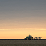 tractor horizon field rural sky evening minimal