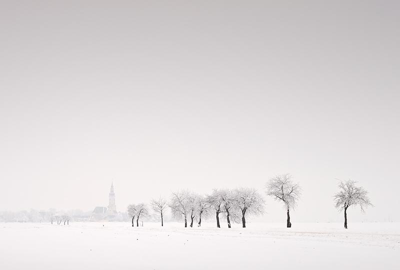 reussen kockwitz church road trees weinter snow feldauge