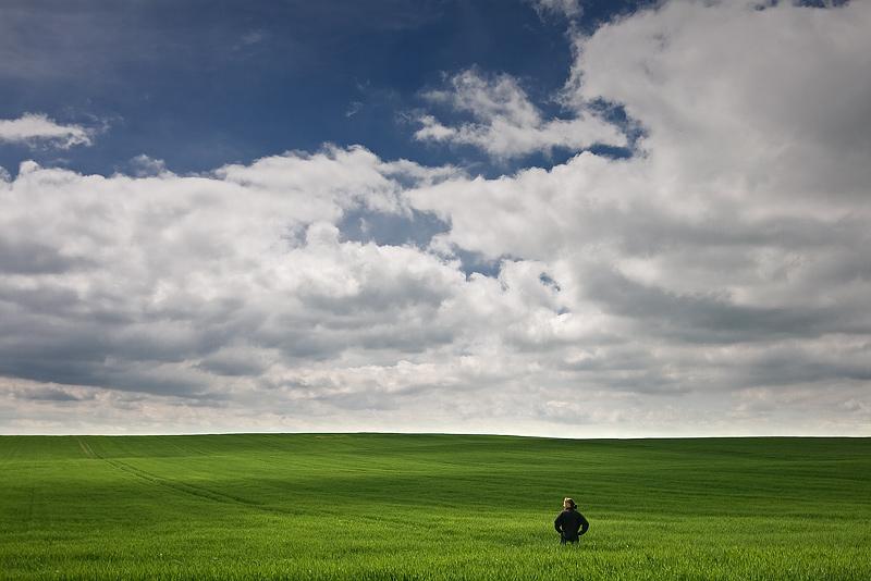 field green self sky clouds feldauge